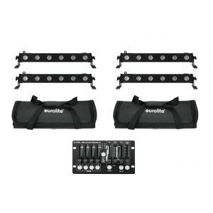 Set bare leduri 4x Eurolite LED BAR-6 QCL RGBW + husa + controler