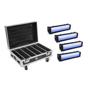 EUROLITE Set 4x AKKU Bar-6 Glow QCL + Case with charging function