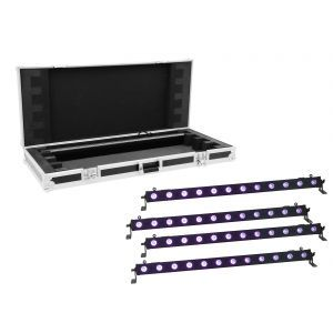 Set bare de leduri 4x Eurolite LED BAR-12 UV Bar + case