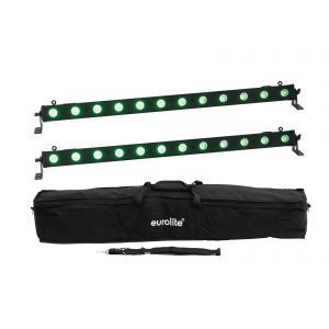Set bare de leduri 2x Eurolite LED BAR-12 QCL RGB+UV + husa