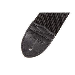 Fender Black Polyester Logo Straps Black with Gray Logo
