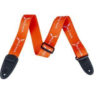 Gretsch Wing Logo Pattern Strap Orange with Gray Logos