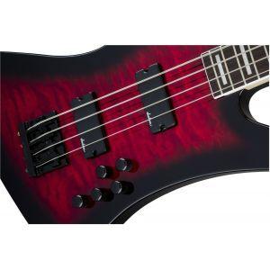 Jackson JS Series Kelly Bird Bass JS3Q Transparent Red Burst