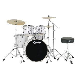 PDP by DW Mainstage Gloss White Chrome Hardware