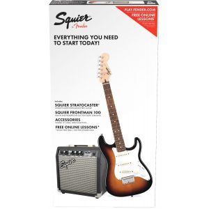 Set Chitara Electrica Squier Affinity Strat Short Scale Brown Sunburst cu Fender Frontman 10G